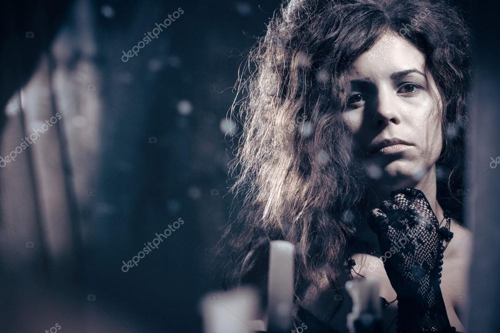 Lonely Sad Woman In A Vintage Dress Stock Photo