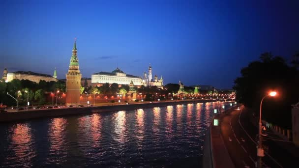 Moscow Kremlin at night, view from Moscow river, Russia