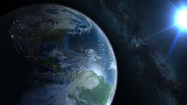 Earth from space. Earth rotates nicely with the stars and the sun. 4k video in a seamless loop.