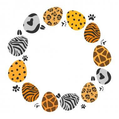 circle illustration of animal patterns easter eggs set
