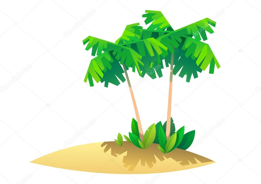 ヤシの木天国のイラストと熱帯の島 ストックベクター Lakosta16