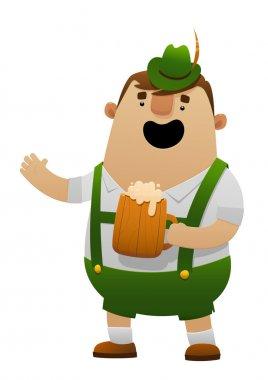Vector illustration of cartoon oktoberfest man with beer