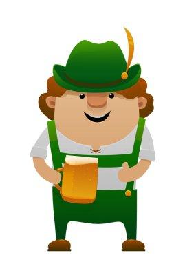 Vector illustration of cartoon oktoberfest fun man with beer