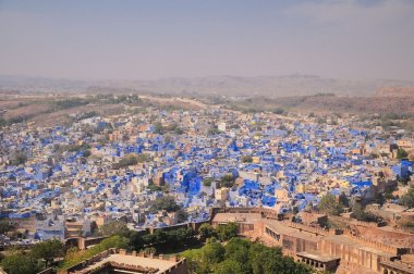 Panorama of Jodhpur, also known as Blue City due to the vivid blue painted Brahmin houses. Jodphur, Rajasthan, India.