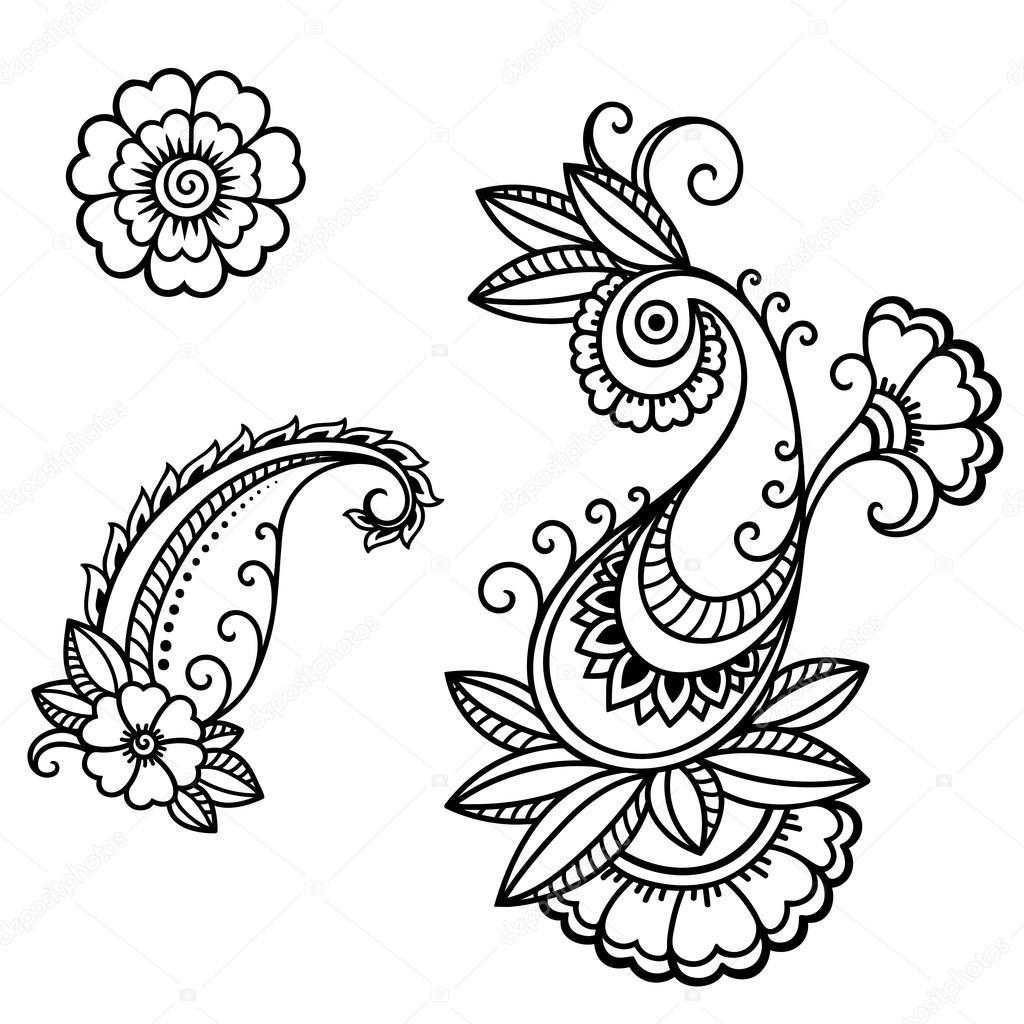 Henna Tattoo Vector: Henna Tattoo Flower Template In Mehndi Style.