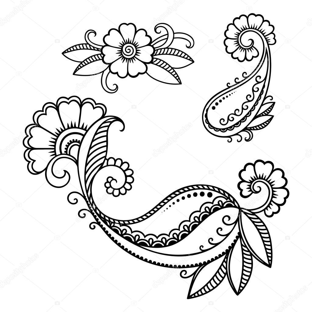 Modello di fiore del tatuaggio del henn mehndi - Modello di base del fiore ...