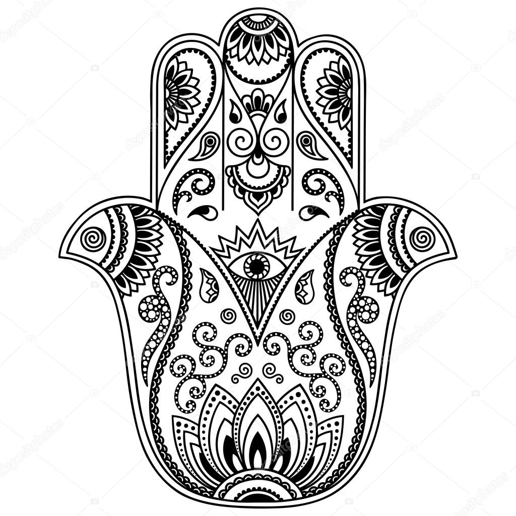 Vector Hamsa Hand Drawn Symbol Stock Vector Rugameteraail