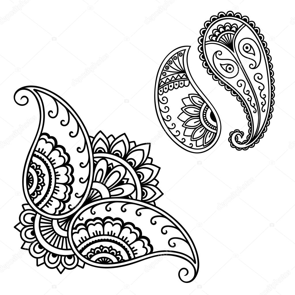 henna tattoo flower template mehndi stock vector. Black Bedroom Furniture Sets. Home Design Ideas
