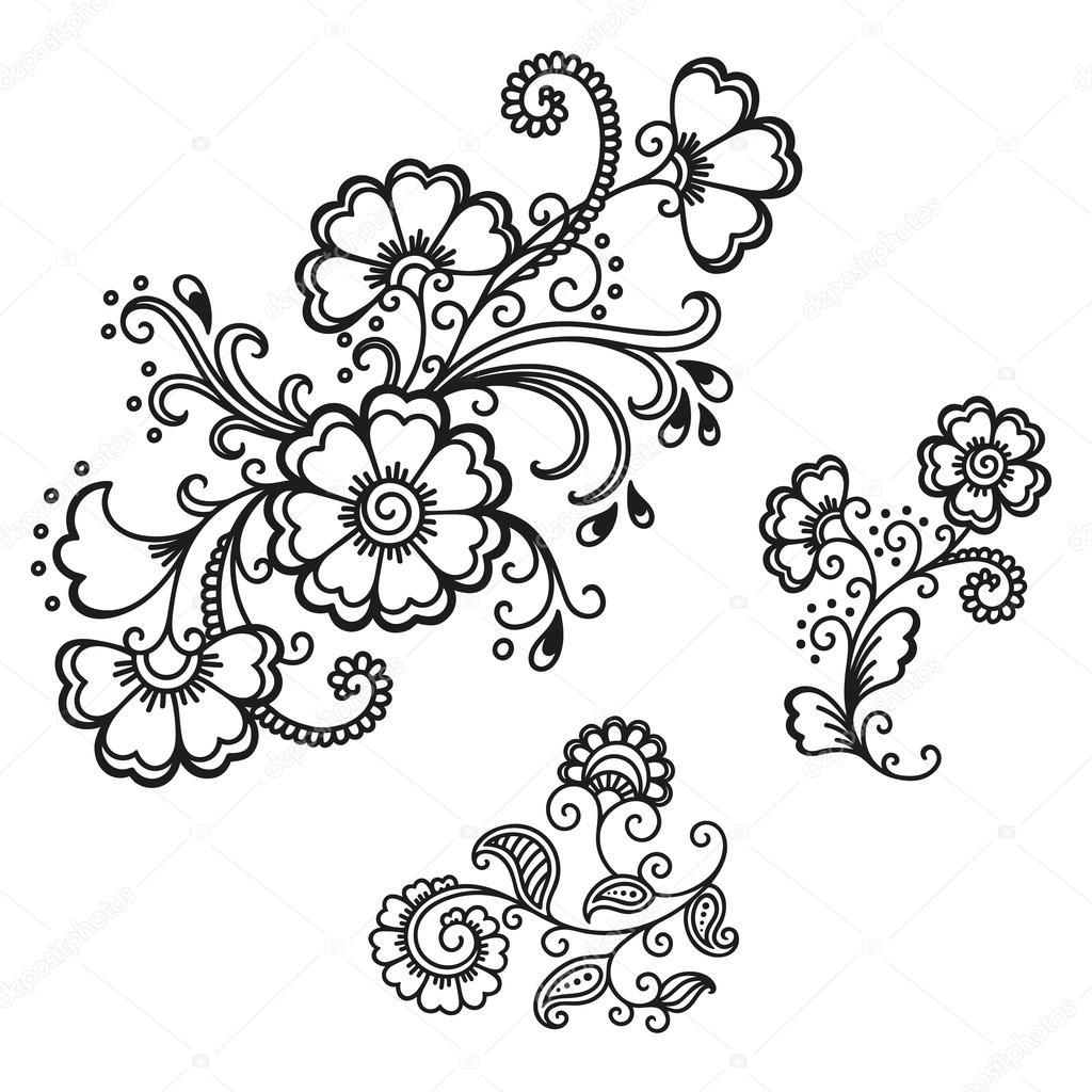 henna tattoo flower template mehndi stock vector rugame tera
