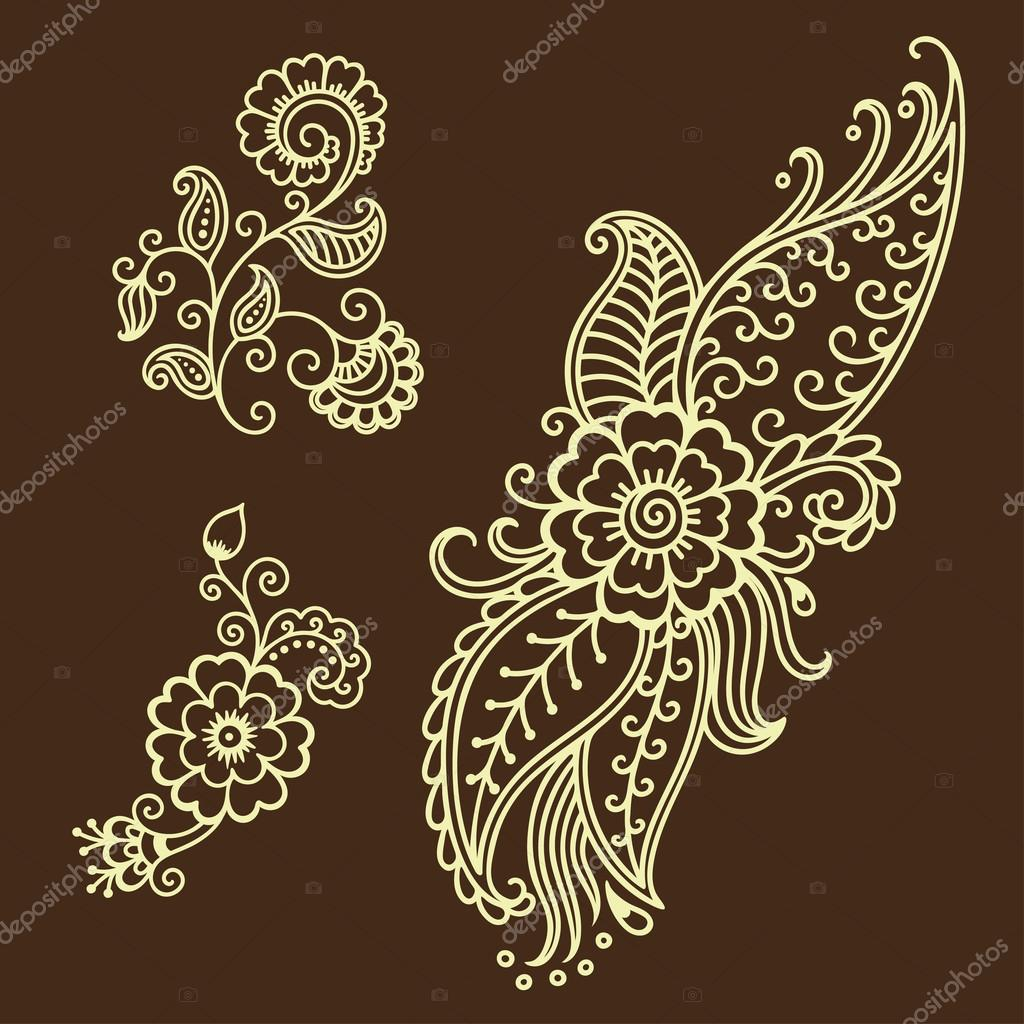 henna tattoo blume vorlage mehndi stockvektor 103796344. Black Bedroom Furniture Sets. Home Design Ideas