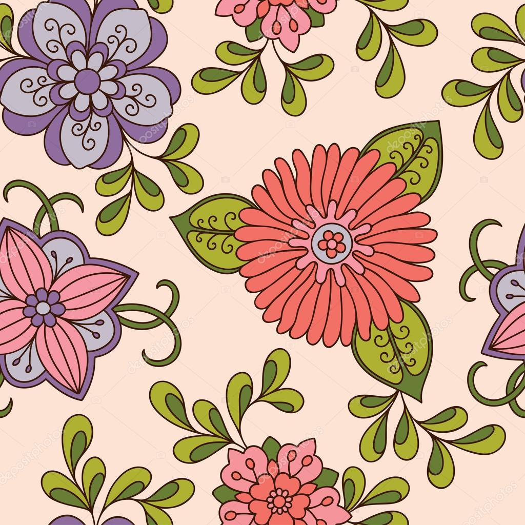 Seamless color flower pattern . Ornamental pattern for the ...