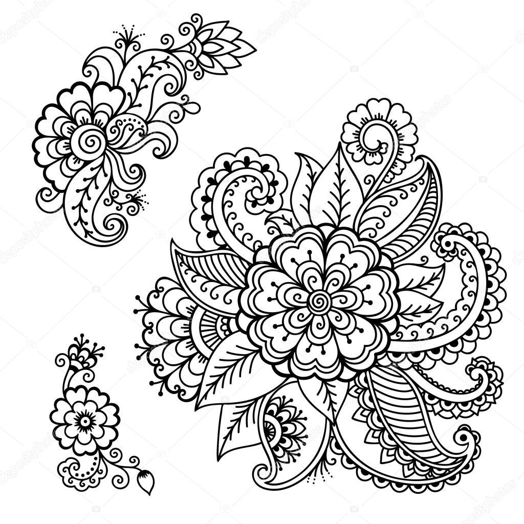 Henna Tattoo Blume Vorlage Mehndi Stockvektor Rugameteragmail