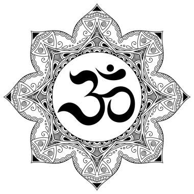 Henna tatoo mandala.OM decorative symbol. Mehndi style.