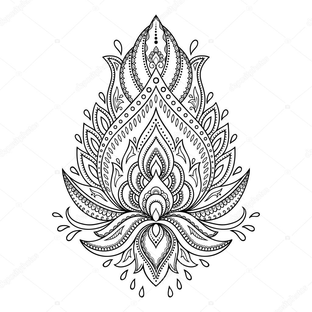 henna tattoo blume vorlage im indischen stil ethnische floral paisley lotus mehndi stil. Black Bedroom Furniture Sets. Home Design Ideas