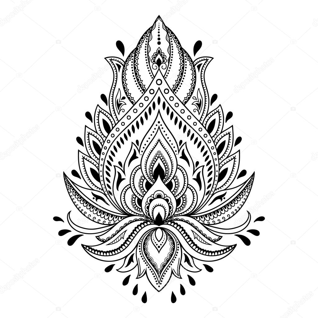 Henna tattoo flower template in Indian style. Ethnic