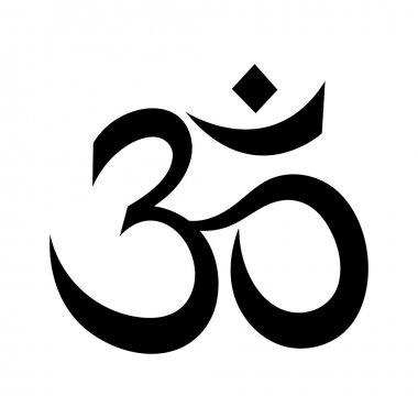 Om or Aum Indian sacred sound. The symbol of the divine triad of Brahma, Vishnu and Shiva.