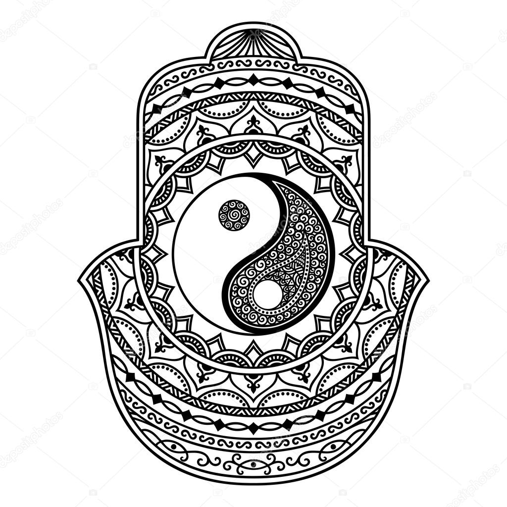 Vector Hamsa Hand Drawn Symbol Yin Yang Decorative Symbol Stock