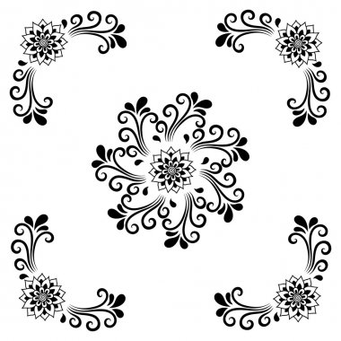 Hand drawing decorative tile frame. Classical floral ornament. Illustration for your design, textiles, posters, tattoos, ceramic tile.