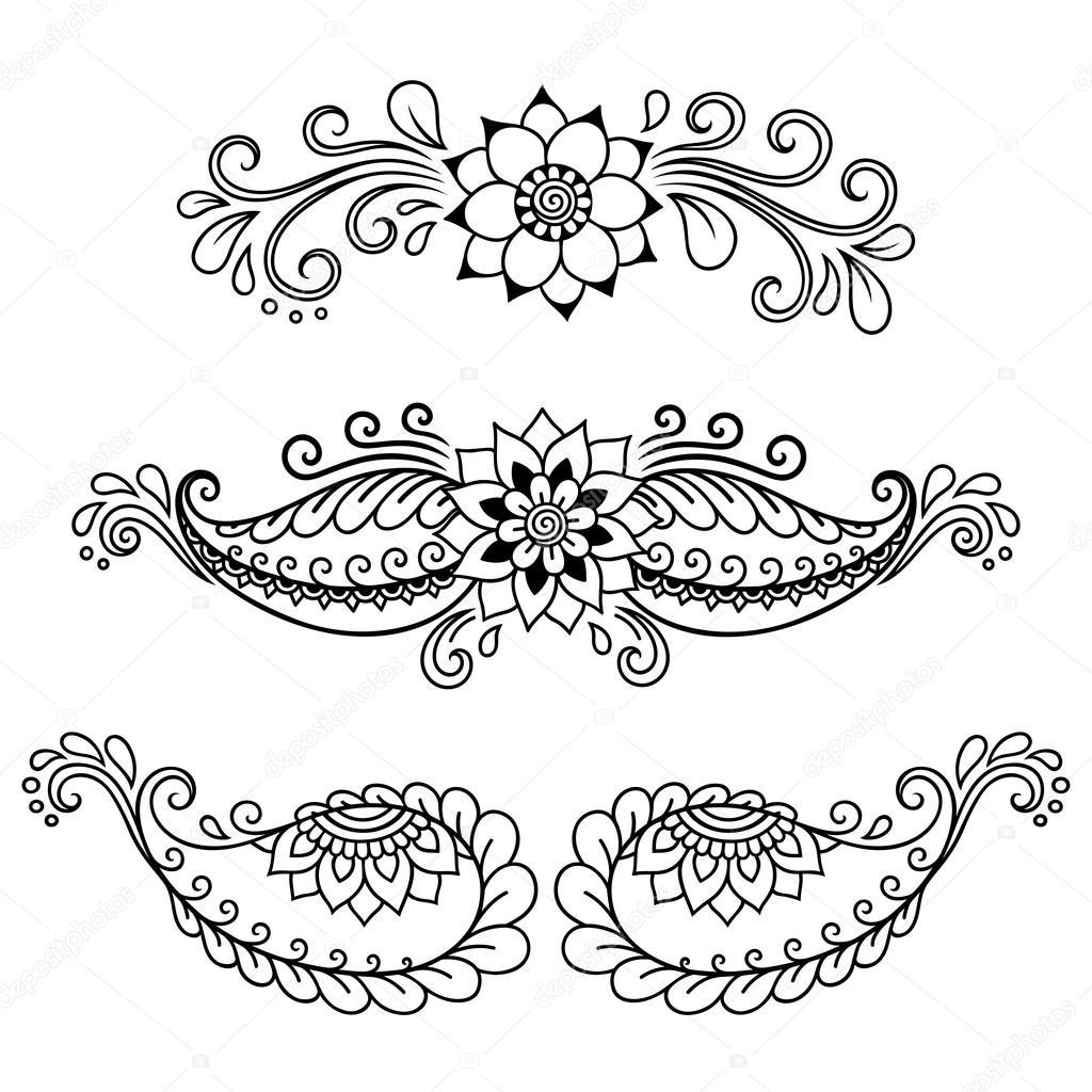 5 Pairs Large Henna Tattoo Stencils Flower 5