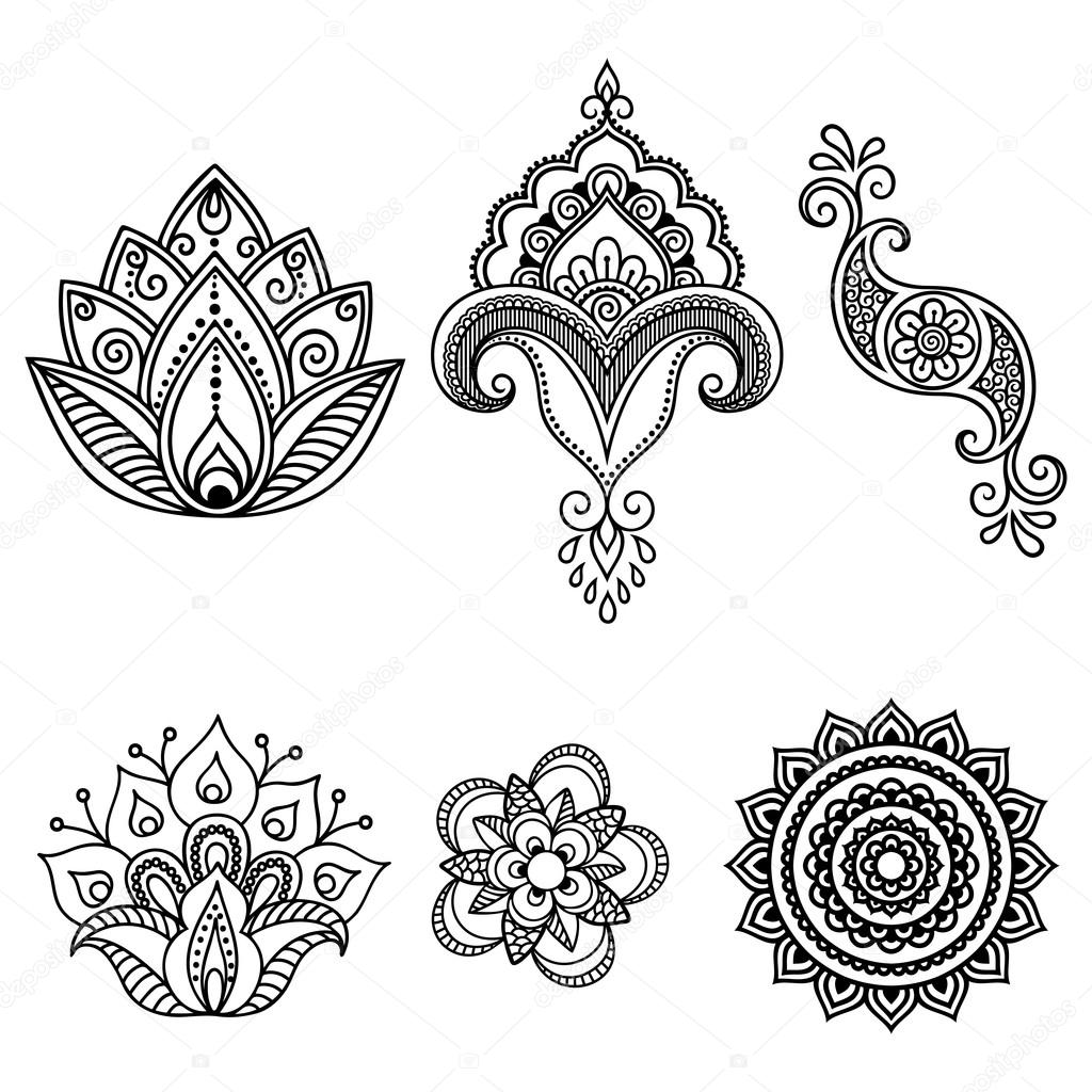 henna tattoo blume vorlage mehndi satz stockvektor 115069114. Black Bedroom Furniture Sets. Home Design Ideas