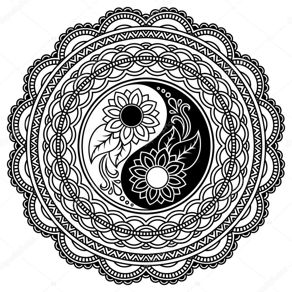 Tatuaż Henną Mandali Ozdobny Symbol Yin Yang Styl Mehndi Grafika