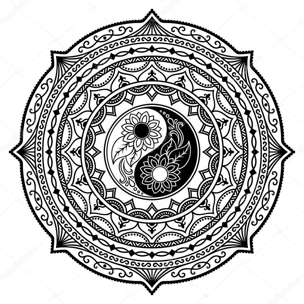 Henna Tatoo Mandala Yin Yang Decorative Symbol Mehndi Style