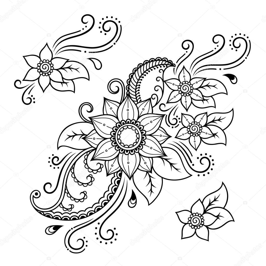 Henna tattoo flower template.Mehndi. Set. — Stock Vector © rugame ...