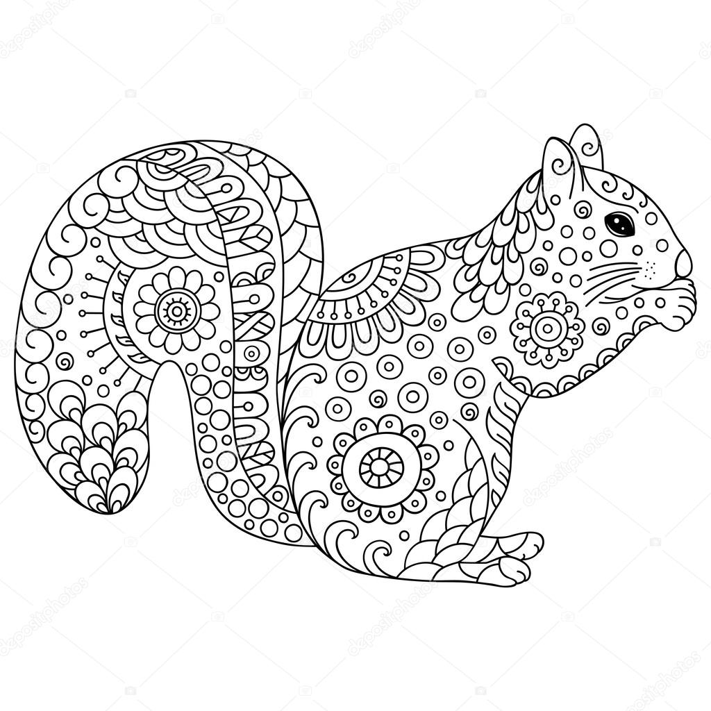 Zentangle Stylized Squirrel Sketch For Coloring Book Poster Print Or Tattoo Hand Drawn Vector Illustration Doodle Animal Adult Antistress