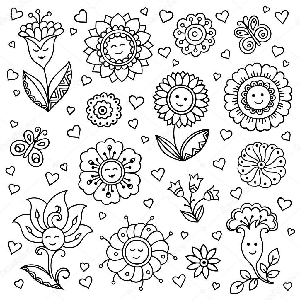 ベクトル パターン 笑顔の花春の花の背景スタイルを落書き落書き