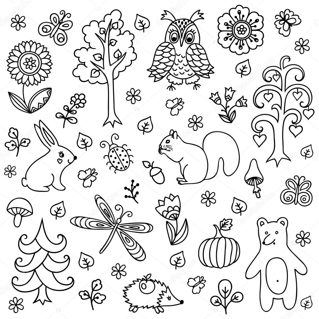 Elementos vector doodle estilo infantil, handdrawn animales e ...