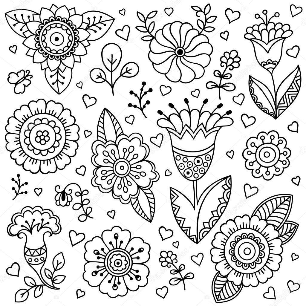 ベクターの花模様春の花の背景スタイルを落書き落書きスタイルの