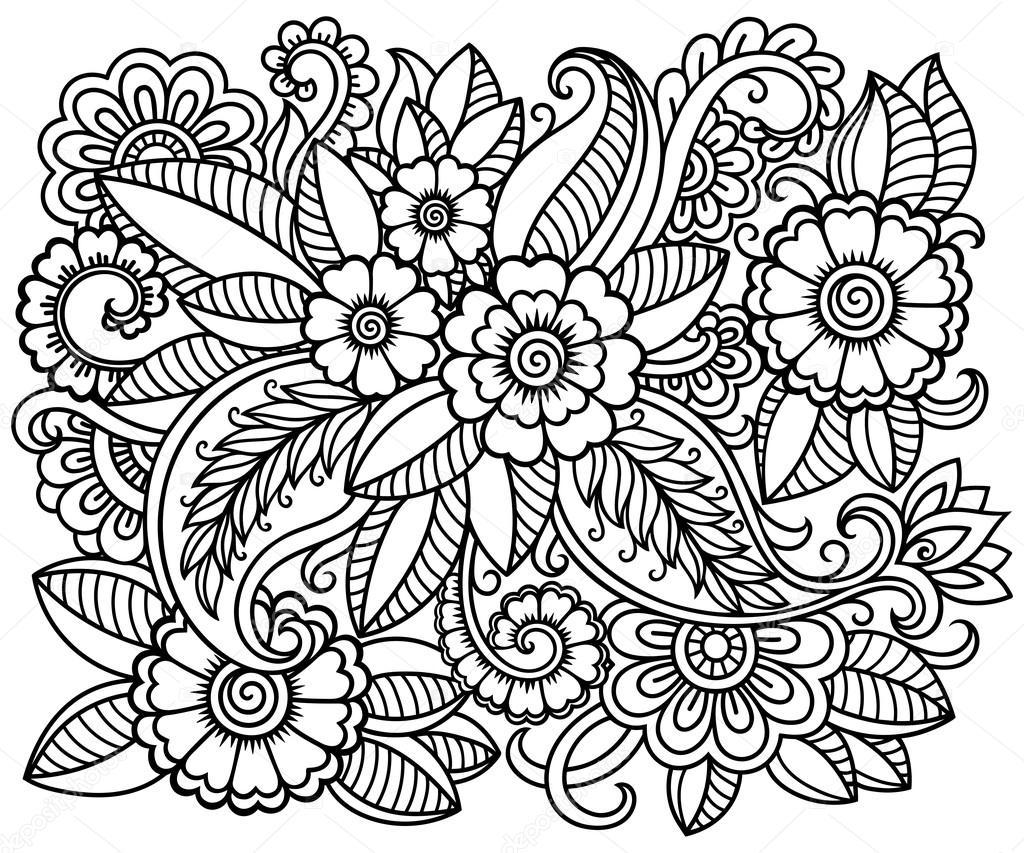 Dibujos Flores Zentangle Art Doodle El Patron En Blanco Y Negro