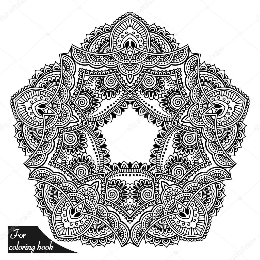 Tatouage Au Henne Mandala En Style Mehndi Gabarit Pour Le Cahier De