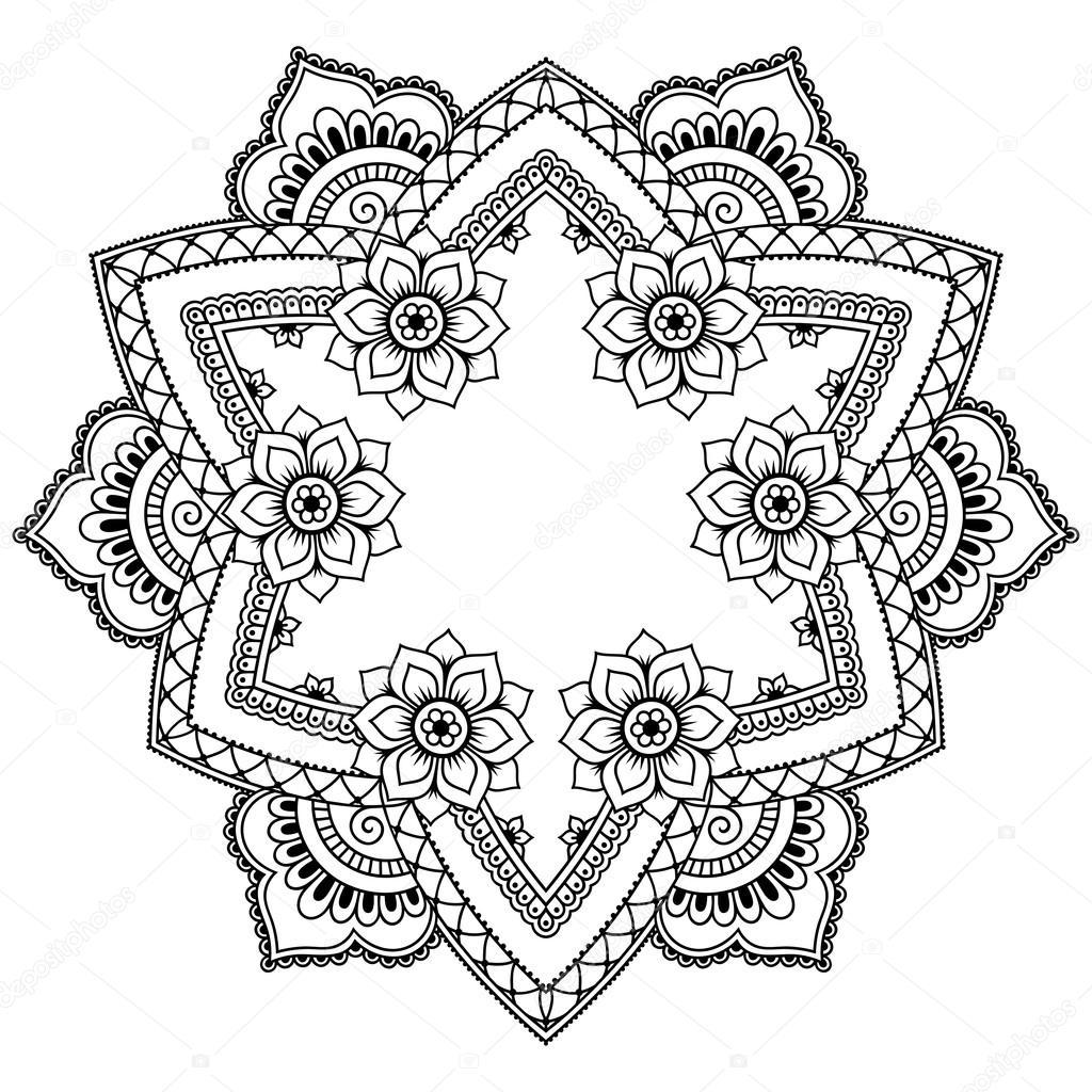 henna tatuering mandala i mehndi stil m nster f r m larbok handritad vektor illustration. Black Bedroom Furniture Sets. Home Design Ideas
