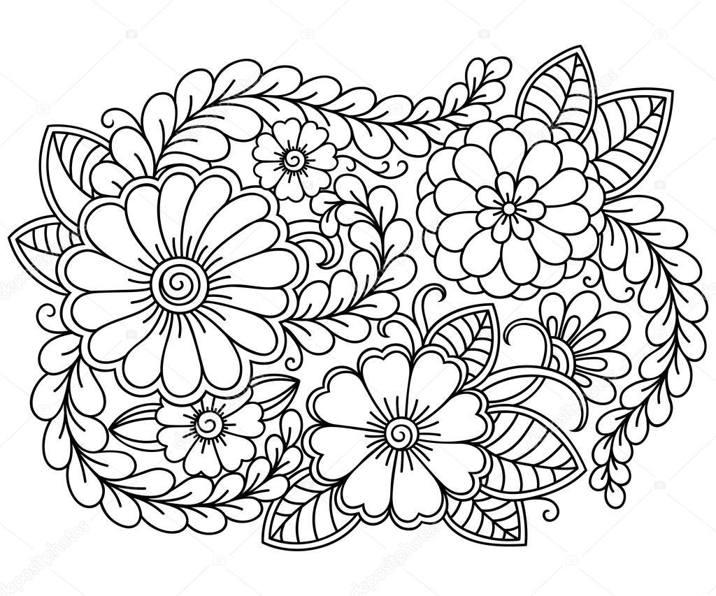 Doodle Desen Siyah Ve Beyaz Boyama Kitabı Için çiçek Desenli Stok