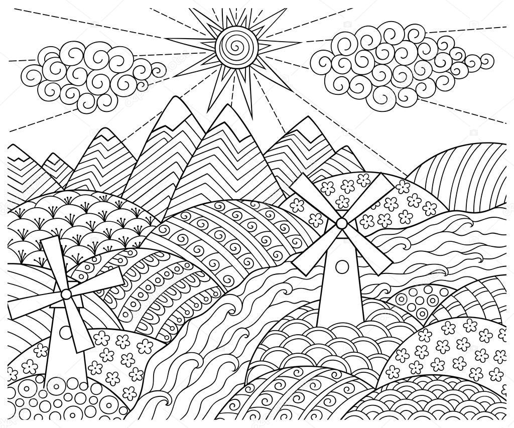 doodle padrão em preto e branco padrão de paisagem para livro de