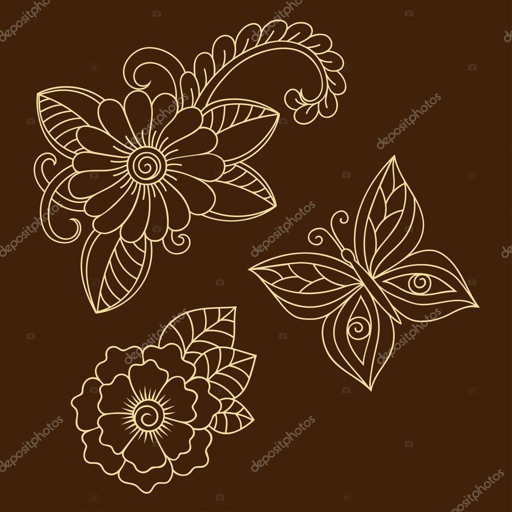 henna tattoo blume und schmetterling vorlage mehndi stil satz von ornamentalen mustern im. Black Bedroom Furniture Sets. Home Design Ideas
