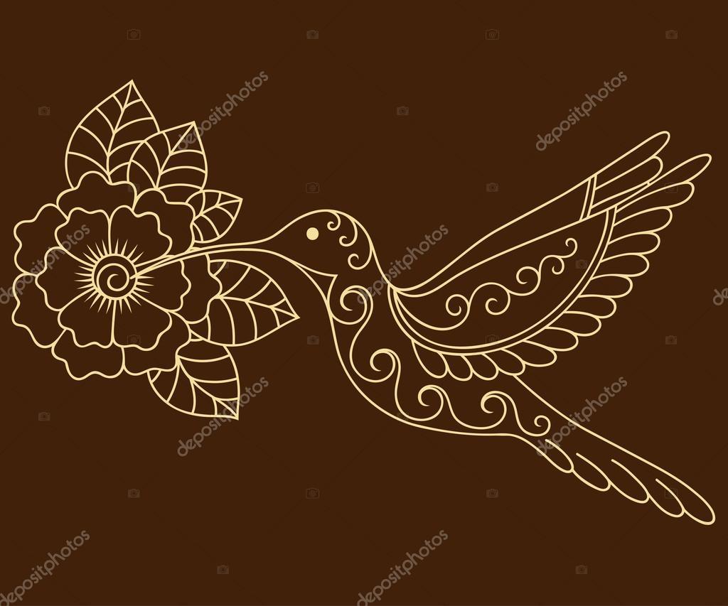 Plantilla de flor y colibri tatuaje de henna. Estilo de mehndi ...