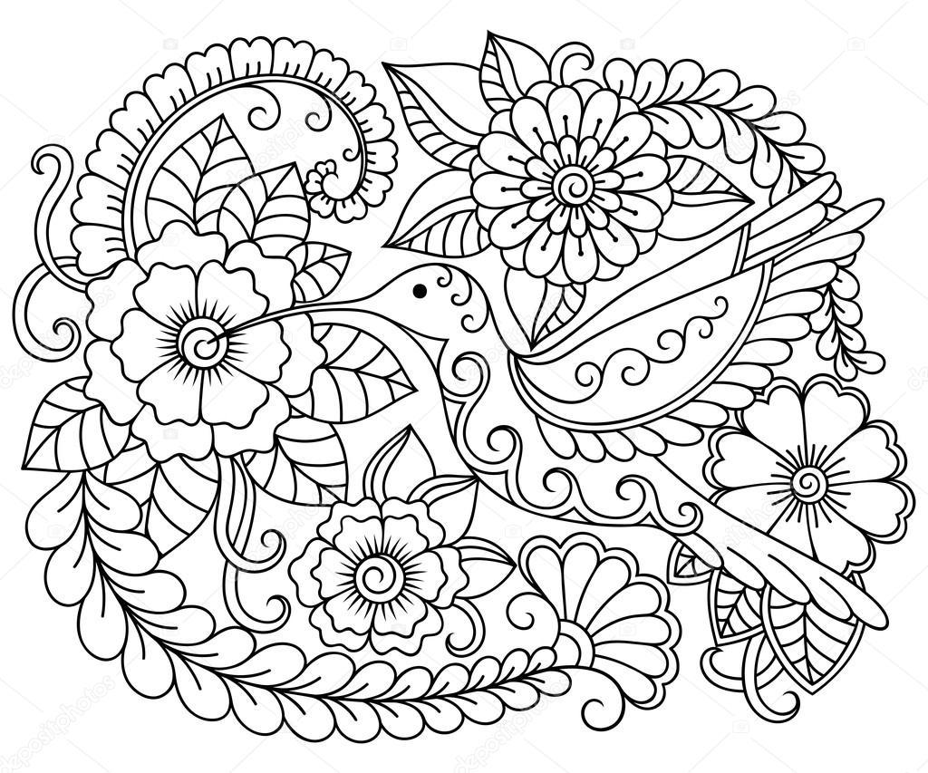Каракули шаблон в черно-белом. Цветочный узор для окраски ...