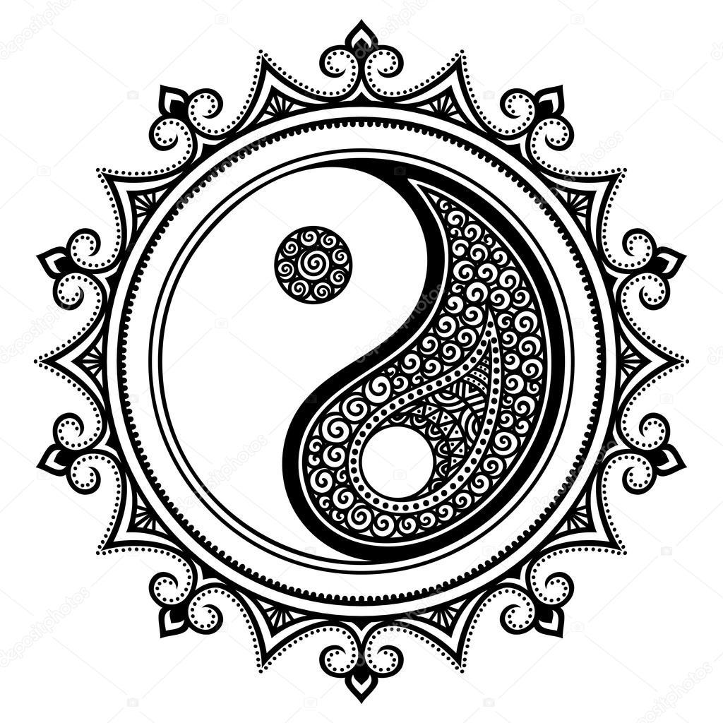 a circular pattern in the form of a mandala yin yang Mandala Yin Yang Wallpaper Flower Yin Yang Mandala