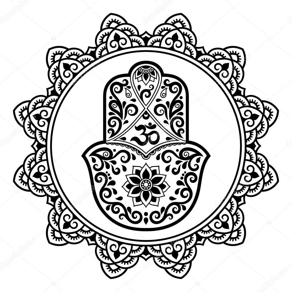 Hamsa Hand Drawn Symbol In Mandala Mehndi StyleDecorative Pattern Oriental Style For Henna Tattoos And Decorative Design Documents Premises