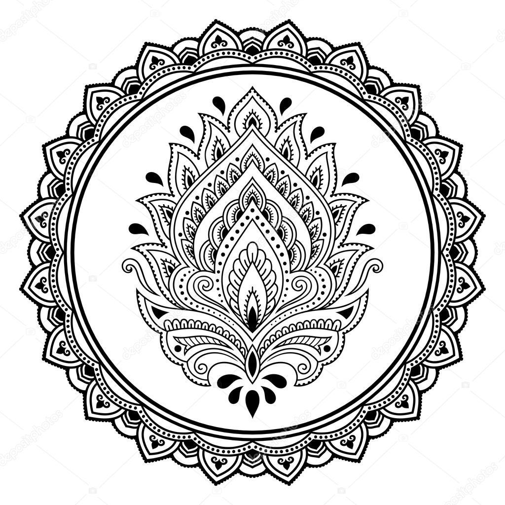 a circular pattern in the form of a mandala henna tattoo flower rh depositphotos com henna hand designs vector henna tattoo designs vector