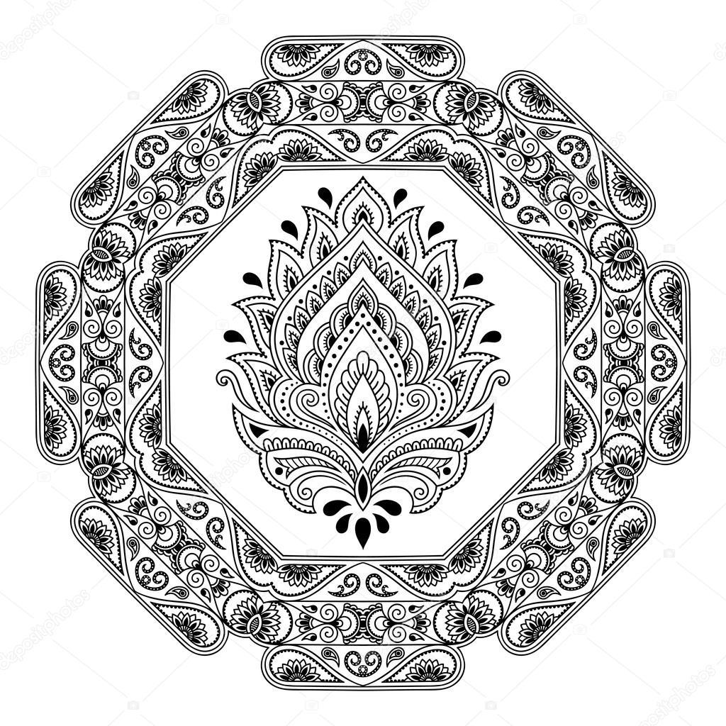 Ein Kreisförmiges Muster In Form Eines Mandalas Henna Tattoo Blume