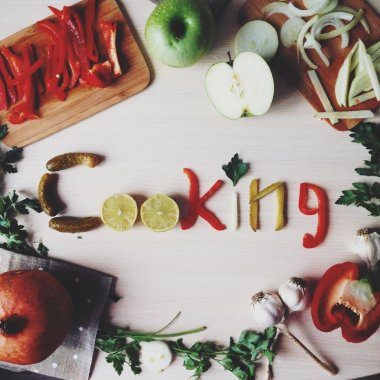 Word cooking made with fruits and vegetables