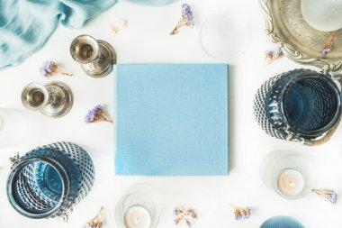 blue wedding or family photo album