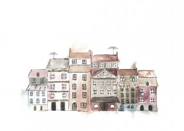 architecture painted with watercolor