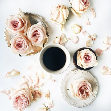 Breakfast with pink rose flowers