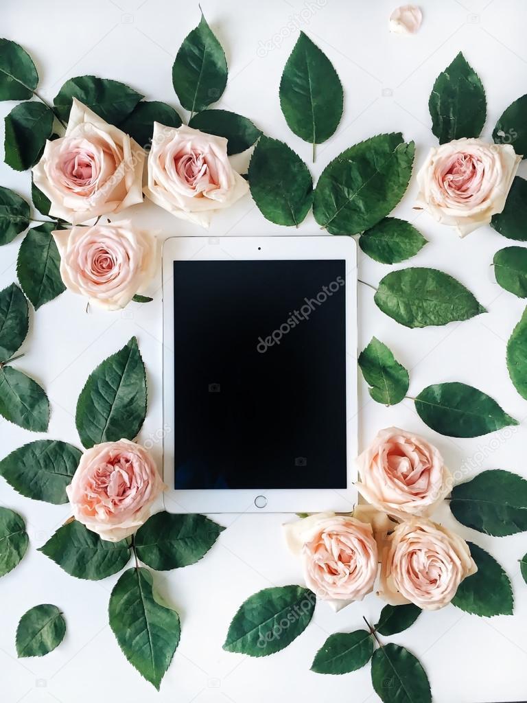 Tablet, vintage golden tray,
