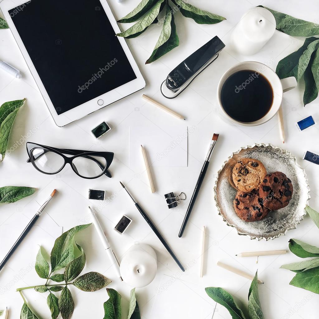 Flat lay composition for bloggers
