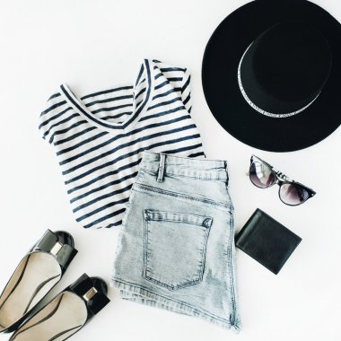 woman summer accessories collage